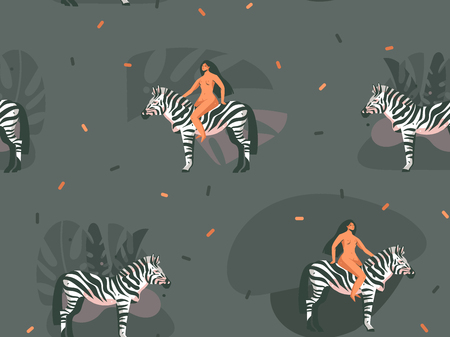 Hand drawn vector abstract cartoon modern graphic African Safari Nature concept collage illustrations art print with zebra animals and nude wild women character isolated on dark color background Ilustracja