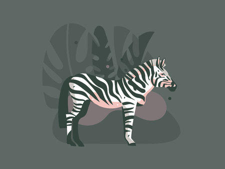 Hand drawn vector abstract cartoon modern graphic African Safari Nature concept collage illustrations art print with zebra animal in wild and tropical palm leaves isolated on dark color background.