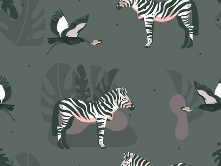 Hand drawn vector abstract cartoon modern graphic African Safari Nature concept collage illustrations art print with zebra animals and crane bird in wild outdoor isolated on dark color background.