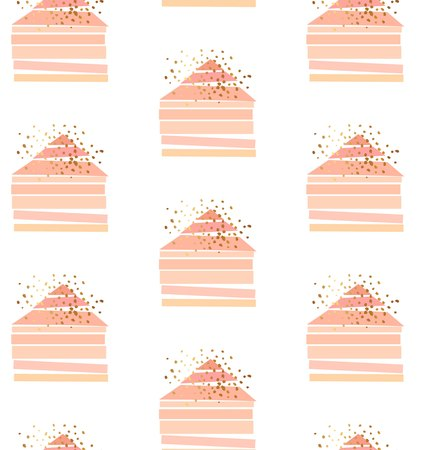 Hand drawn vector seamless pattern with scandinavian geometric abstract houses