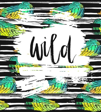 Hand drawn vector card template with ink lettering word Wild on brush stroke textured background and tropical green palm leafs.