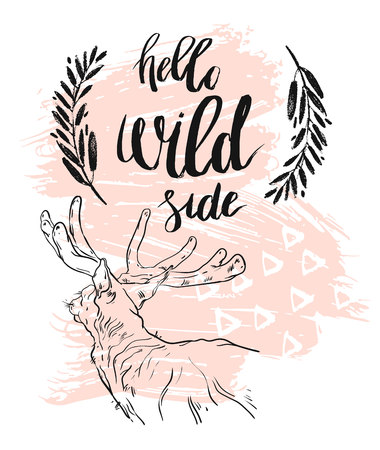 Hand drawn vector abstract textured card template with lettering phase Hello wild side