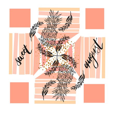Hand drawn vector summer compozition with pineapples,lettering Sweet august and brunches in pastel peach colors isolated on white background.