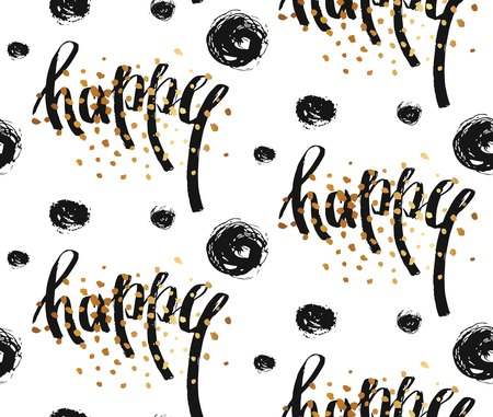 Hand drawn vector seamless pattern with Happy word ink lettering,golden glitter and brush polka dots isolated on white background. 向量圖像