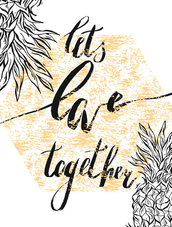 We are better together. Valentines day greeting card with calligraphy. Hand drawn design elements. Handwritten modern brush lettering. Ilustracja