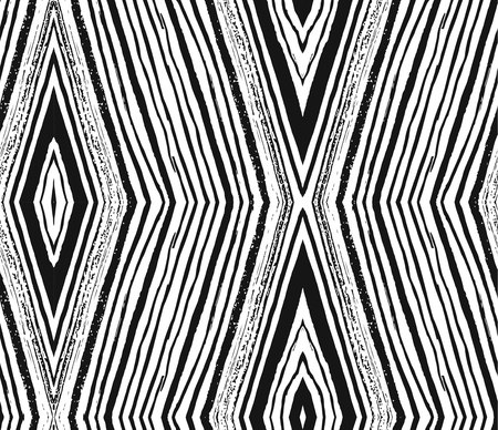 Vector seamless pattern with rhombuses brush strokes. Abstract background made using of brush smears. hand drawn texture. Trendy hipster print