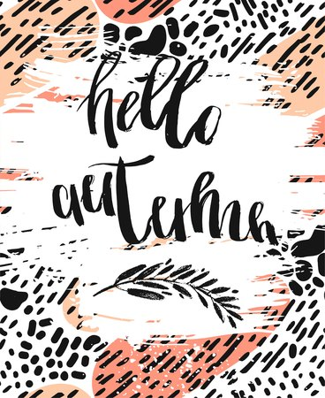 Hand drawn vector artistic textured template card with Hello autumn quote handwritten lettering on abstract bacground.Autumn mood poster. Ilustração