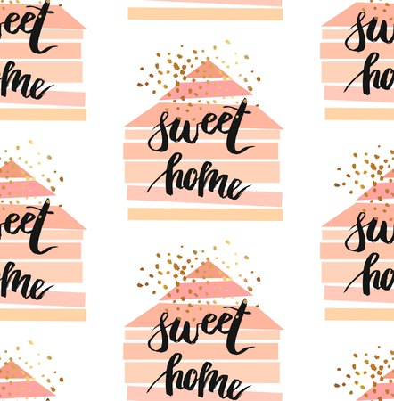 Hand drawn vector abstract seamless pattern with geometric houses in pastel colors,gold glitter and ink handwritten lettering phase Happy Home.Home decor print.