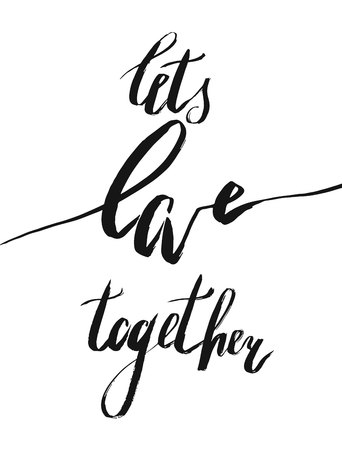 Romantic handwritten lettering quote Lets love together in gold hexagon isolated on white background Ilustrace