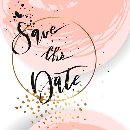 Tarjeta de plantilla elegante inusual abstracta dibujada a mano en color pastel con brillo dorado para Save the Day.Diseño para boda, matrimonio, baby shower, novia, fiesta, cumpleaños, día de San Valentín.