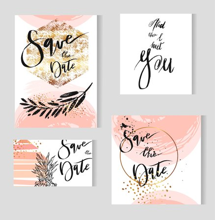 Set of perfect wedding templates in golden,pastel,black and white colors.Ideal for Save The Date, baby shower,mothers day,bridge,valentines day, birthday cards,invitations.Vector lettering