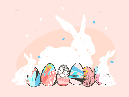 Hand drawn vector abstract graphic rustic textured collage Happy Easter cute greeting card template and cute bunny sketch and Easter eggs illustration isolated on pink pastel background.