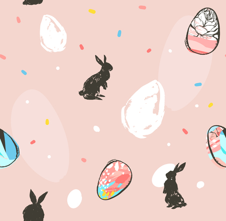 Hand drawn vector abstract graphic rustic textured collage Happy Easter cute greeting seamless pattern with cute bunny sketch and Easter eggs illustration isolated on pink pastel background.