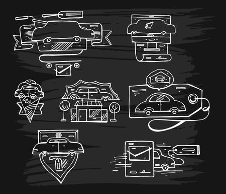 Hand drawn vector Set of graphic lined car logo elements,emblems and icons.