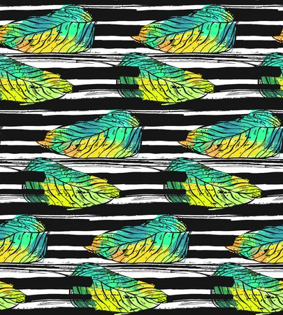 Hand drawn vector abstract textured pattern with tropical exotic green palm leaf and black stripped ink stroke texture.Design for t-shirt,bags,fashion print,paper,web.Summer hipster illustration.