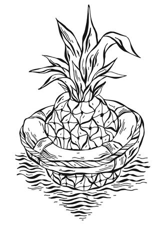 Hand drawn vector graphic illustration of pineapple floating in lifebuoy in ocean waves.