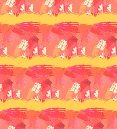 Hand drawn seamless pattern. Abstract background with brush strokes. Warm colors hand drawn texture.