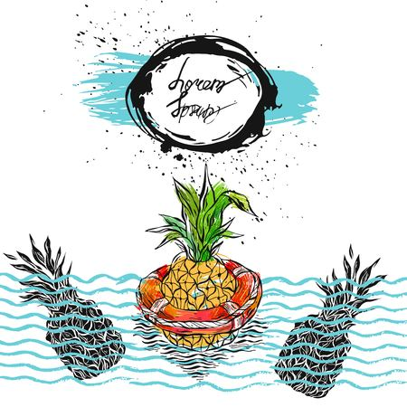 Hand drawn vector graphic abstract illustration of pineapple floating in lifebuoy in ocean waves.Summer background and card template with place for your text.Summer tropical exotic fruit illustration