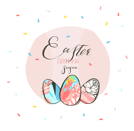 Hand drawn vector abstract graphic rustic textured collage Happy Easter cute greeting card template Easter eggs and Easter Hunting season freehand calligraphy text isolated on pink pastel background.