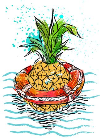 Hand drawn vector abstract color graphic illustration of pineapple floating in lifebuoy in ocean waves.Illustration of tropical exotic fruit.Beach background.Design for summer card template,sign