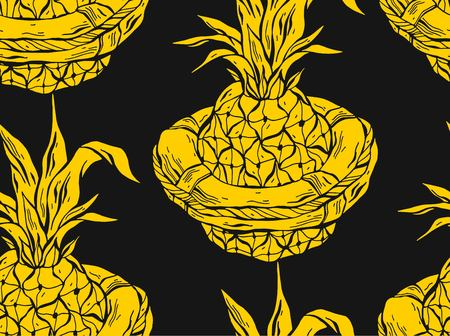 Hand drawn vector graphic pattern of swimming pineapple in life buoy.Summer seamless pattern in black and yellow colors.Exotic tropical fruit illustration.