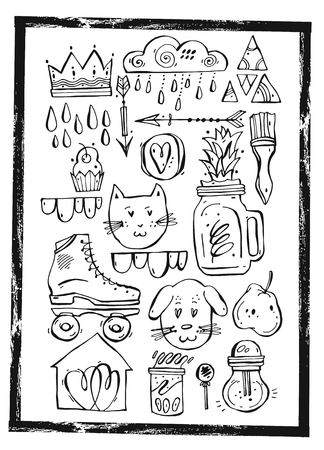 Hand drawn vector graphic lined set for card design,holiday decoration,greeting card.Illustration of cat,dog,crown,rainy cloud,vintage roller skates,cupcakes,pear,smoothie,arrows