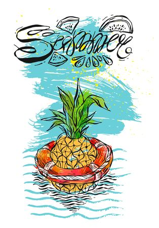 Hand drawn vector abstract color graphic template card with pineapple swimming in lifebuoy in ocean waves.Illustration of tropical exotic fruit.Beach background.Design for summer camp,sign,beach party