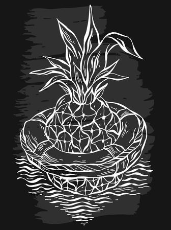 Hand drawn vector graphic illustration of pineapple floating in lifebuoy in ocean waves.Black and white illustration of tropical exotic fruit.Beach background.Design for summer card template,sign Ilustração