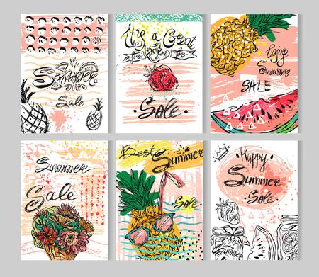 Summer hand drawn abstract calligraphic card set. Vector collection of bright summer sale cards.Beautiful summer posters with summer fruits,flowers and sweets.Cute illustration for your sale