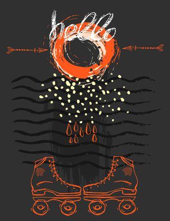 Tarjeta de plantilla abstracta de vector dibujado a mano con patines retro, trazos de ondas y hola letras manuscritas sobre fondo negro con color naranja.Diseño de saludo, cartel, evento, vacaciones,