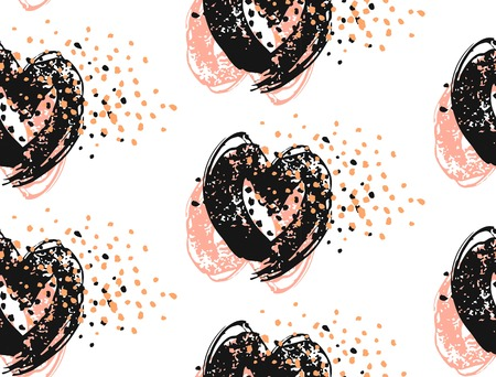 Hand drawn abstract vector seamless pattern of ink brush painting hearts with glitter.Pastel,black and white colors. Ilustracja