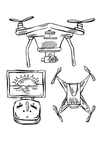 Hand drawn vector lined illustration of drones,multicopter isolated on white background Ilustrace