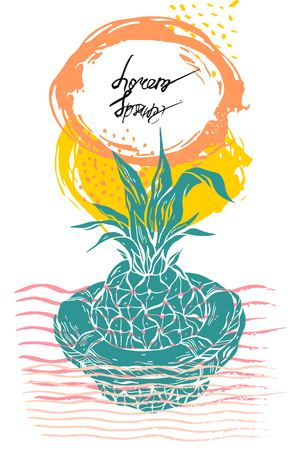 Hand drawn vector graphic illustration of pineapple floating in lifebuoy in ocean waves.Pineapple card on white background with place for your text.Summer beach background.