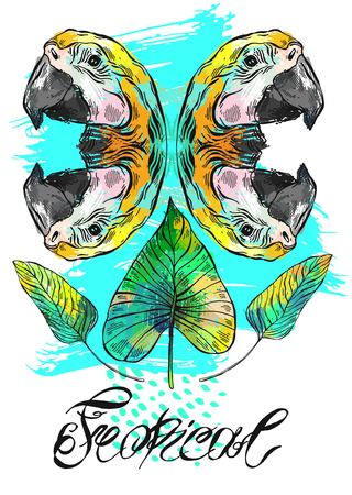Vector exotic hand drawn abstract background with parrots mirror reflection,palm tropical leafs and lettering.Template card design for summer camp,cruise party,cocktail party,birthday,tropical wedding Ilustração
