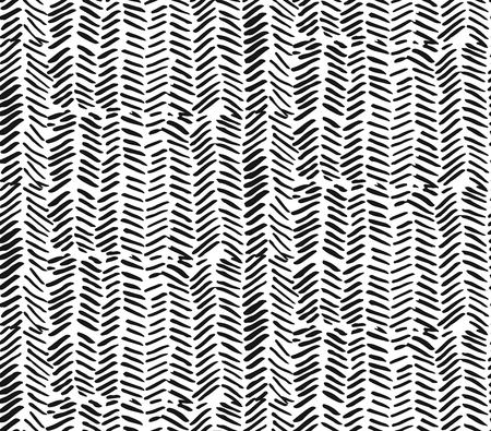 Hand drawn graphic brush strokes textured zig zag pattern.Seamless vector abstract painted pattern.Texture for web, print, home decor, textile, wrapping paper, wallpaper, invitation card background Ilustração