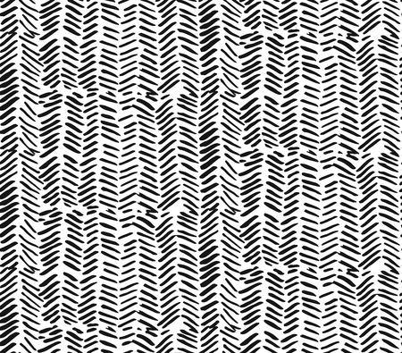 Handgezeichnete grafische Pinselstriche strukturiertes Zick-Zack-Muster. Nahtloser Vektor abstrakt gemaltes Muster. Textur für Web, Druck, Wohnkultur, Textil, Geschenkpapier, Tapete, Einladungskartenhintergrund