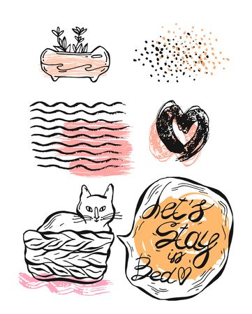 Hand drawn vector graphic illustration set of cat in pottle with speech bubble and lets stay in bed phrase,textured ink hearts,colored glitters,weaves texture,and succulent in pot