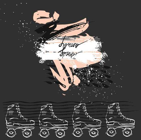 Carte de modèle abstrait vectoriel dessiné à la main avec des patins à roulettes rétro et des textures de peinture avec place pour votre texte sur fond noir avec des couleurs pastel. Conception de modèle de carte extérieure d'été drôle Vecteurs