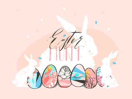 Hand drawn vector abstract graphic rustic textured collage Happy Easter cute greeting card template and bunny sketch,Easter eggs illustration and Easter Hunt calligraphy isolated on pastel background. Ilustração