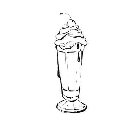 Hand drawn vector abstract artistic cooking ink sketch illustration drawing of milkshake cocktail and whipped cream in glass isolated on white background.Kids menu concept.