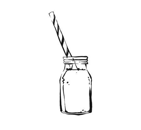 Hand drawn vector abstract artistic cooking ink sketch illustration of tropical fruit lemonade cocktail shake drink or milkshake in glass mason jar isolated on white background.Diet detox concept. Çizim