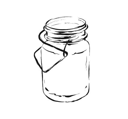 Hand drawn vector abstract artistic cooking ink sketch illustration of tropical lemonade cocktail shake drink in glass mason jar isolated on white background.Diet detox concept.