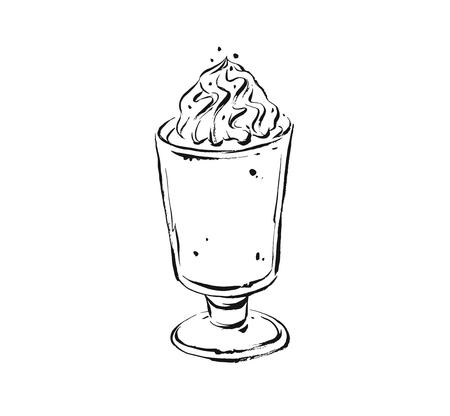 Hand drawn vector abstract artistic cooking ink sketch illustration drawing of coffee cocktail and whipped cream in glass isolated on white background. Illustration