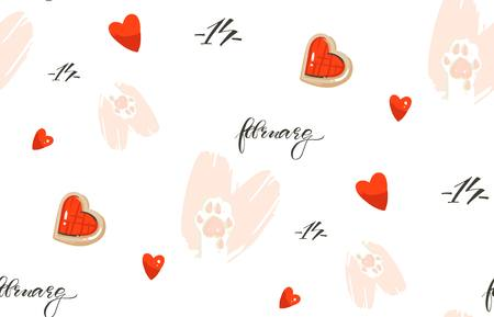 Hand drawn vector abstract modern cartoon Happy Valentines day concept illustrations card with cute cats paws and modern hearts cakes isolated on white background