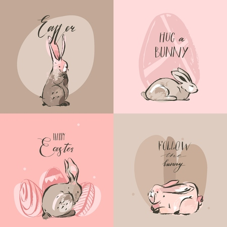 Hand drawn vector abstract graphic rustic collage Happy Easter cute greeting cards template set and bunny sketch, Easter eggs illustration and Easter Hunt calligraphy isolated on pastel background.