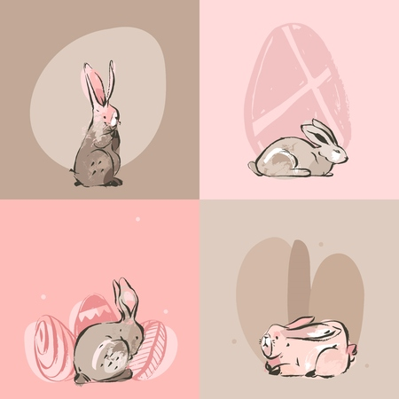 Hand drawn vector abstract graphic rustic collage Happy Easter cute greeting cards template set and bunny sketch, Easter eggs illustration isolated on pastel background