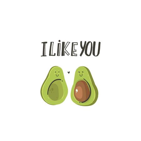 Hand drawn vector abstract modern cartoon Happy Valentines day concept illustrations card with cute avocado couple and handwritten modern ink calligraphy text I Like you isolated on white background.