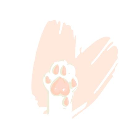 Hand drawn vector abstract modern cartoon Happy Valentines day concept illustrations card with cute cat paws in pink pastel colors isolated on white background.