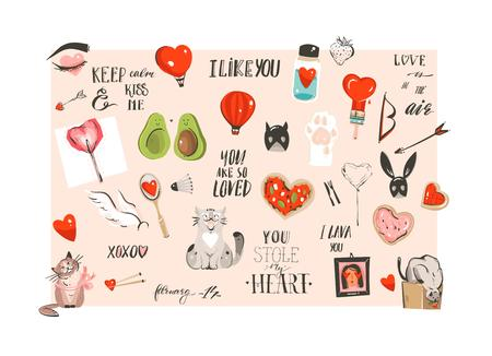 Hand drawn vector abstract modern cartoon Happy Valentines day concept illustrations collection set with cute cats and handwritten modern ink calligraphy text isolated on white background Standard-Bild - 117257034