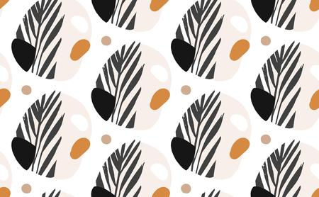 Hand drawn vector abstract creative graphic illustrations seamless collage pattern with tropical exotic palm leaves mottif isolated on white background. Ilustração